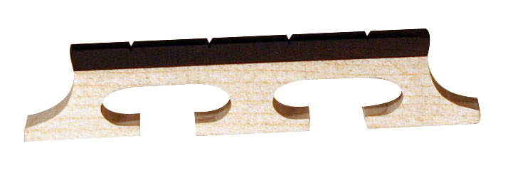Barnes and Mullins Banjo Bridge Ebony Inlay Slotted 4 String 5/8