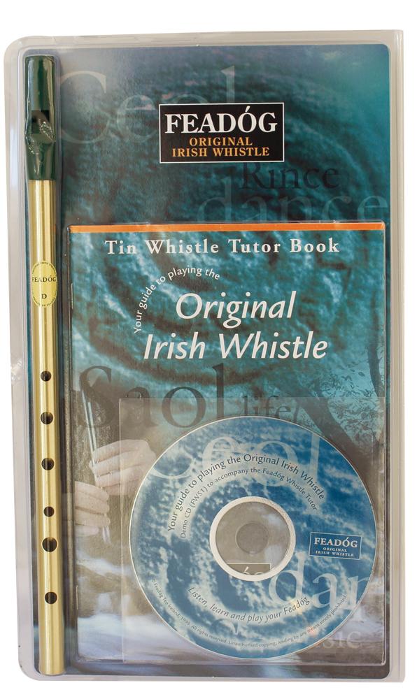 Feadog Irish Whistle D Brass Triple Pack Tutor Book + CD