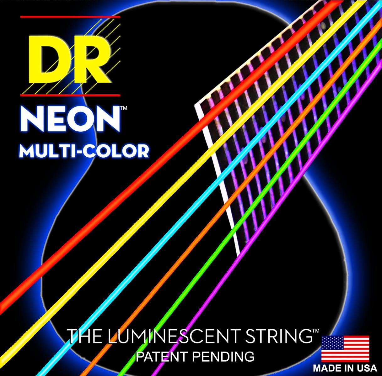 DR Strings Hi-Def Neon Multi-Colour Acoustic Medium - Lite