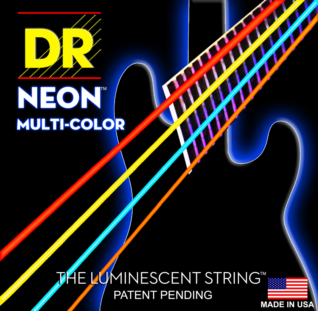 DR Strings Hi-Def Neon White Bass Medium