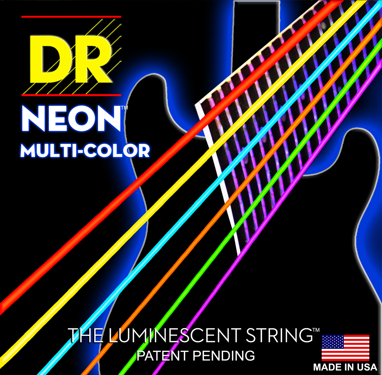 DR Strings Hi-Def Neon Blue Electric Medium