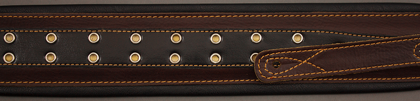 TGI Strap Padded Brown/Black Leather with Eyelets