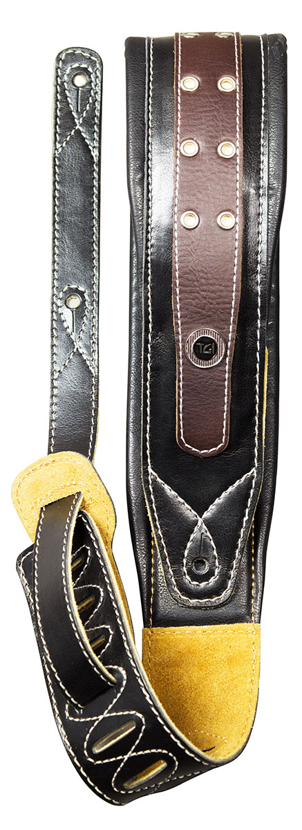 TGI Strap Padded Black/Brown Leather with Eyelets