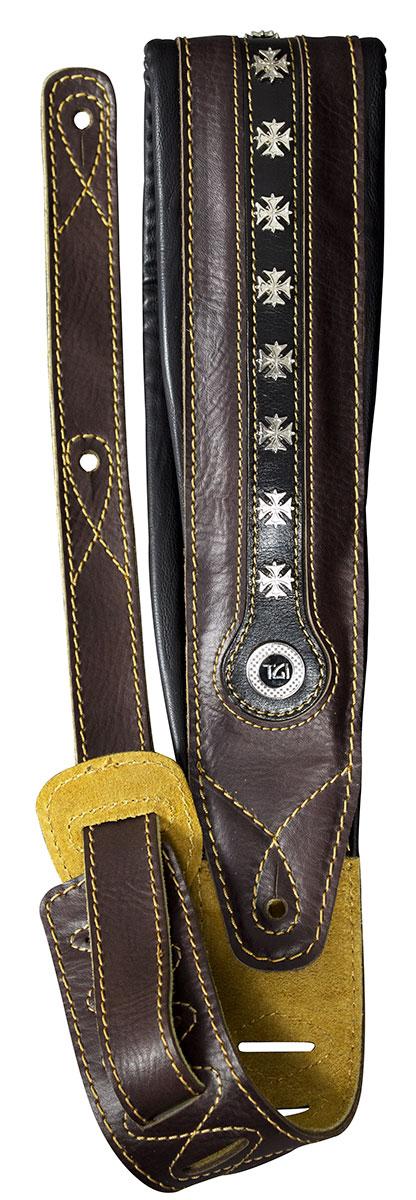 TGI Strap Leather Padded Iron Cross Brown/Black