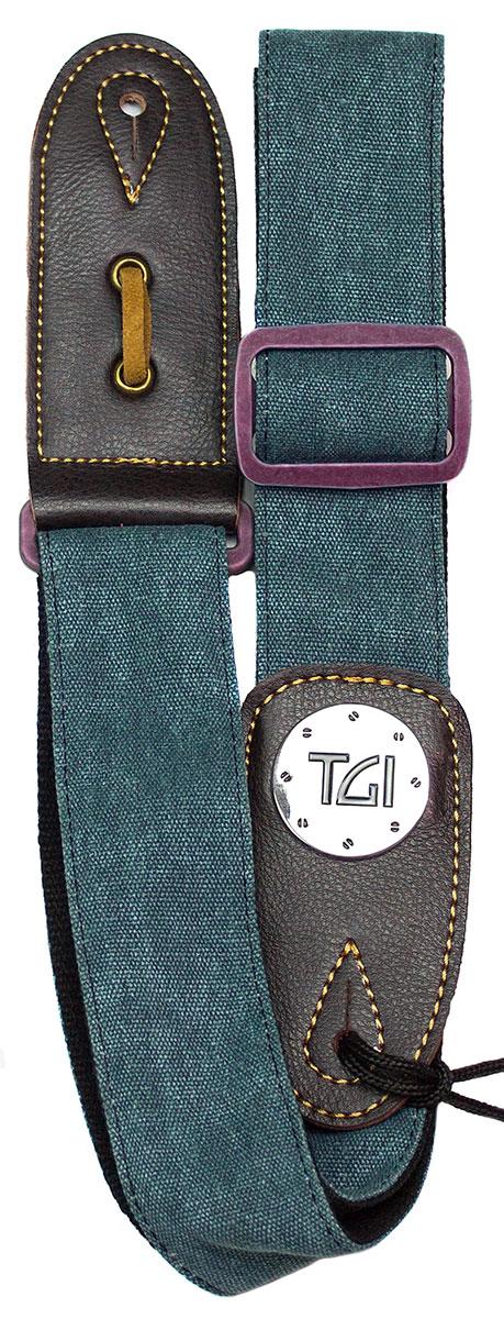 TGI Strap Woven Green Denim Purple Buckle