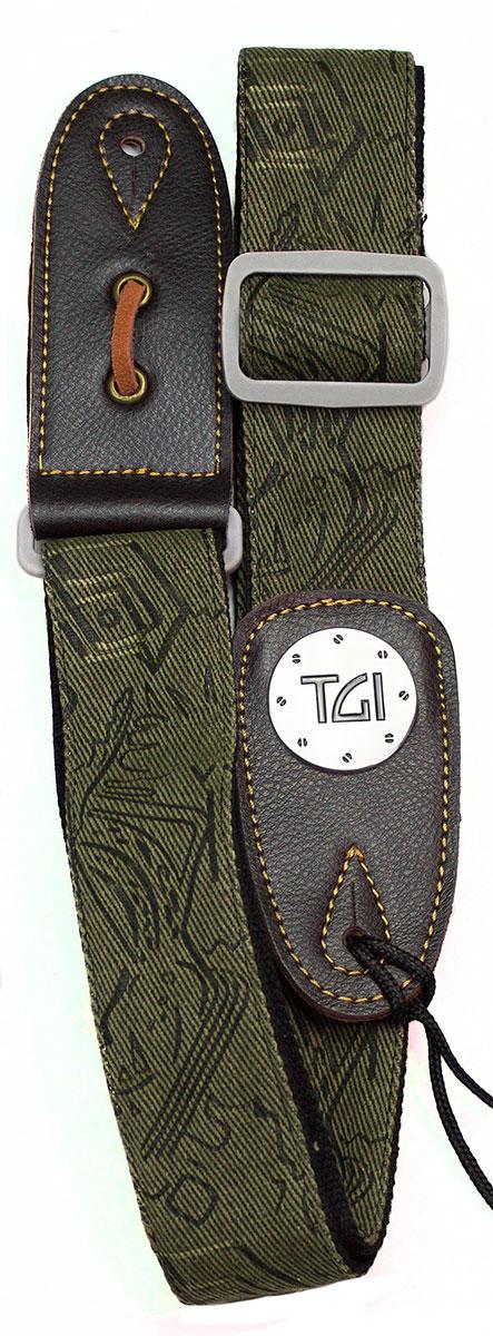 TGI Strap Woven Green Pattern Denim Grey Buckle