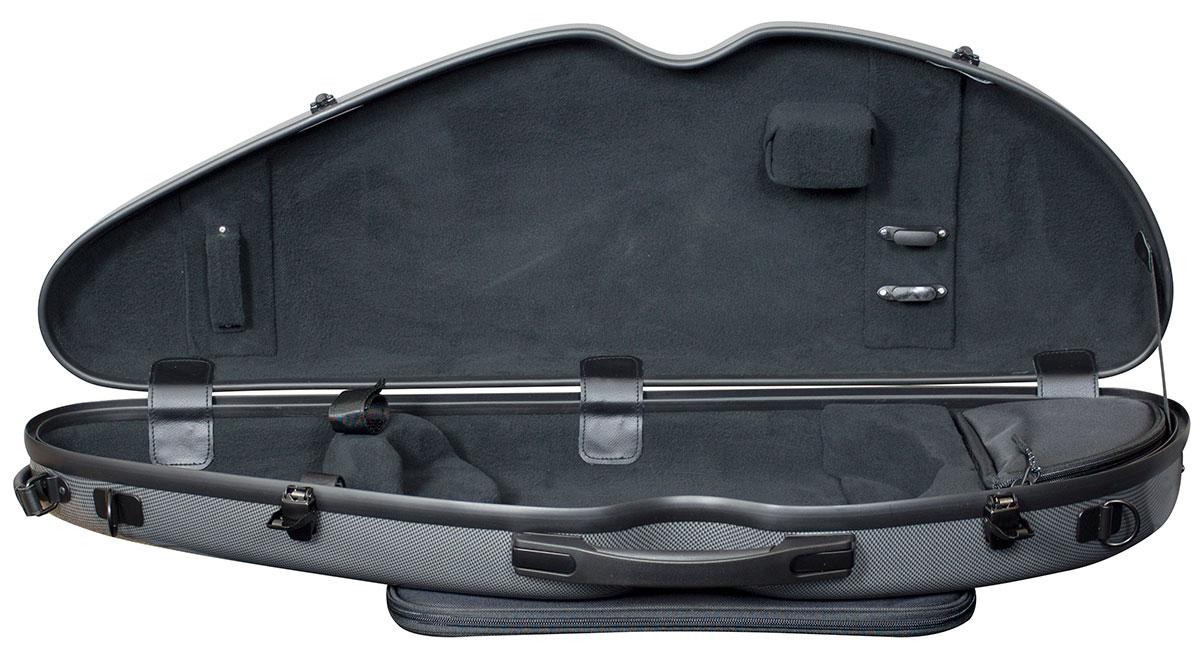 Hidersine Case Polycarbonate Violin Halfmoon Carbon Fibre Effect