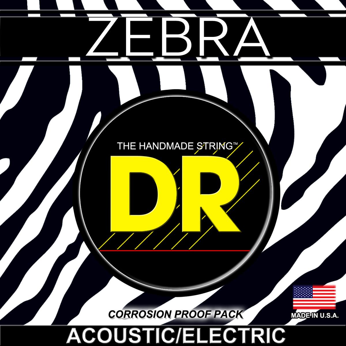 DR Strings Zebra Acoustic-Electric Light - Light
