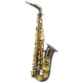 Trevor James SR Alto Sax Outfit - Black. Gold Lacquer Keys