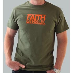 Faith Guitars T-Shirt Green/Orange - X-Large