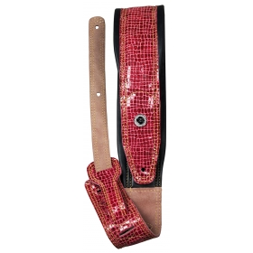 TGI Guitar Strap Padded Leather Red Skin Effect