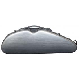 Hidersine Violin Case - Polycarbonate Halfmoon Brushed Silver