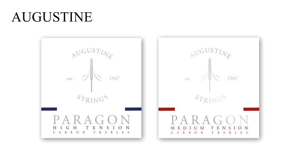 Augustine 'Paragon' carbon treble nylon guitar strings land in the UK.