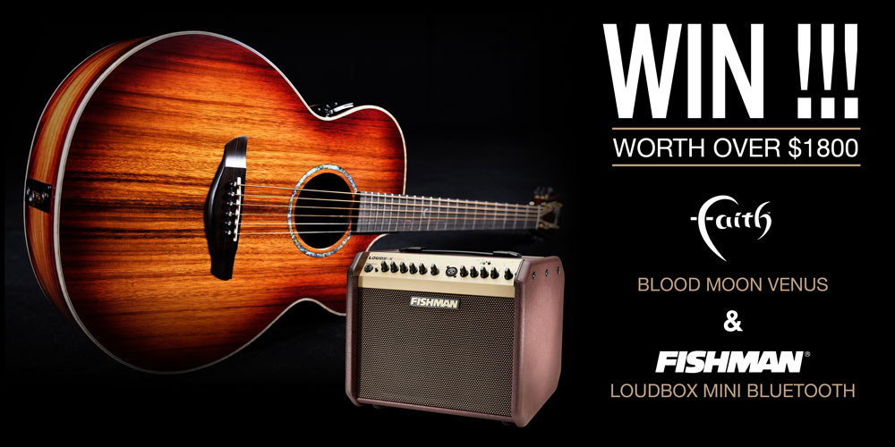 Faith Guitars & Fishman Music partner to giveaway Blood Moon Venus & Loudbox Mini BT amp worth over $1800.