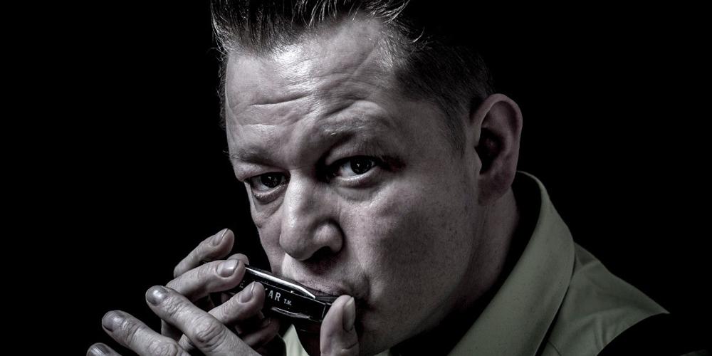 Lee Oskar artist, Steve Lockwood leading Cambridge Harmonica Playathon.