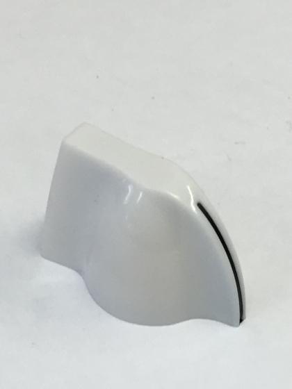 Mini Chicken Head Knob White with Black Pointer- Spline shaft