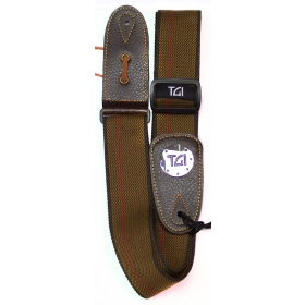 TGI Guitar Strap Woven Brown and Red Stripe